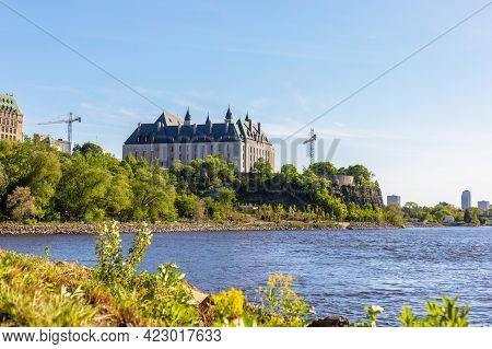 Canada, Ottawa - May 23, 2021: Panoramic View Of Ottawa River And Supreme Court Of Canada From The H