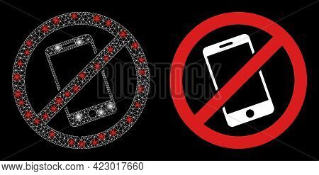Glossy Mesh Vector Smartphone Restricted With Glare Effect. White Mesh, Glare Spots On A Black Backg