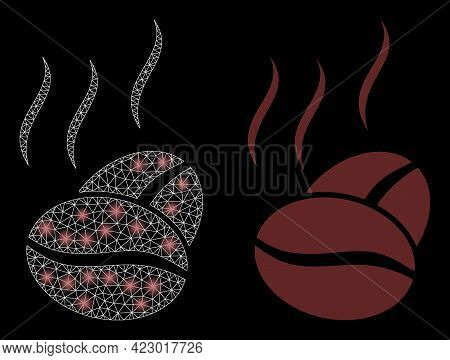 Magic Mesh Vector Cacao Aroma With Glow Effect. White Mesh, Glare Spots On A Black Background With C