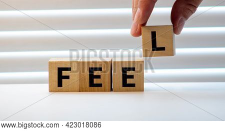 Feel Word Written On Wood Block. Feel Text On Table, Concept