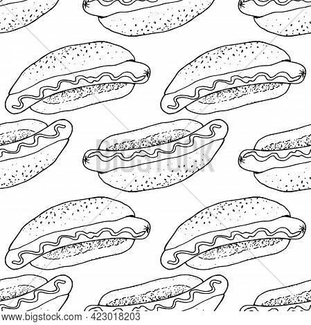 Vector Seamless Hot Dog Pattern. Pattern Of Street Food Fast Food Sausage In A Bun With A Pattern Of