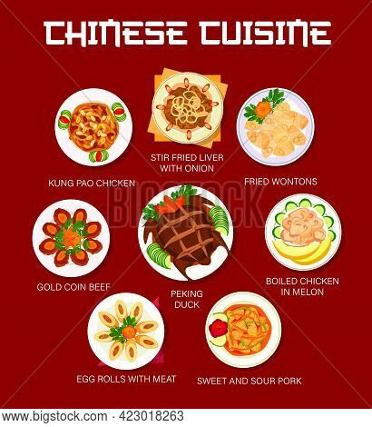 Chinese Food And Asian Cuisine Menu Dishes, Vector Lunch And Dinner Meals Plates. Chinese Cuisine Tr