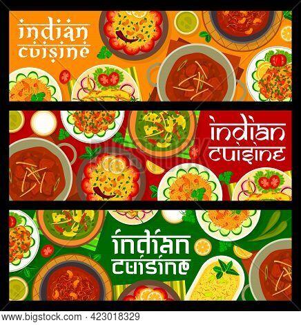 Indian Cuisine Food Banners. Vector Lemon Rice, Lamb Curry And Yogurt Dessert Shrikhand, Mushroom Bh