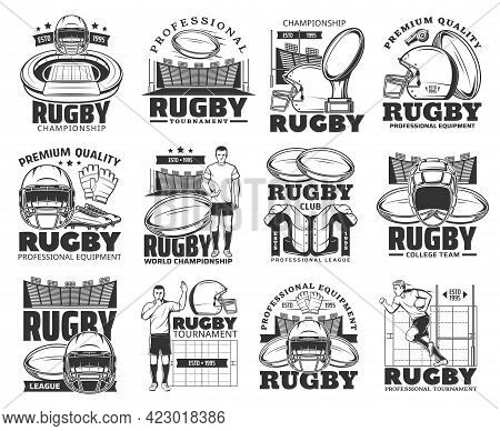Rugby Tournament, American Football League Championship, Vector Emblems And Icons. Rugby Football Cl