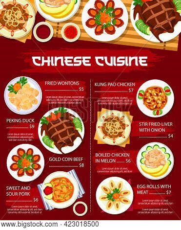 Chinese Cuisine Food, Asian Menu Dishes Lunch And Dinner Vector Restaurant Meals Poster. Chinese Cui