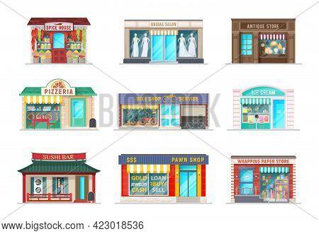 City Street Shops Cartoon Buildings. Vector House, Bridal Salon And Pizzeria Cafe, Antique Store, Bi