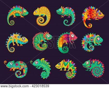 Cartoon Mexican Chameleons, Vector Lizards With Ornate Colorful Skin, Long Curvy Tail, Tongue And Te