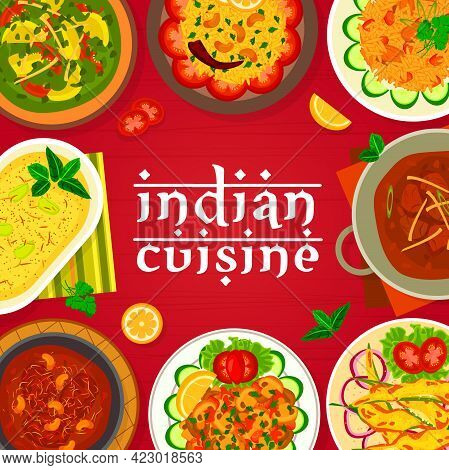 Indian Cuisine Menu Cover Vector Template. Deep Fried Peppers Chilli Bajji, Lamb Curry And Meatballs