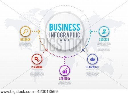 Business Infographics Template, Success Strategy Or Task Management Plan. Circle Icons With Research