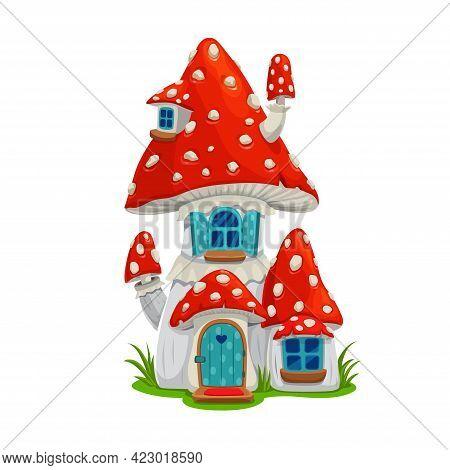 Mushroom Fairy House Dwelling Of Elf Or Gnome, Vector Fly Agaric Cartoon Building, Fairytale Home Wi