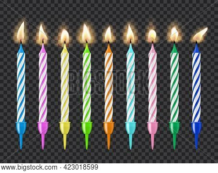 Birthday Cake Candles, Candlelight Fire Flame, Colorful Vector Burning Candles Isolated On Transpare