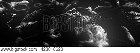 Dust Particles. Abstract Background Of Particles. 3d Rendering