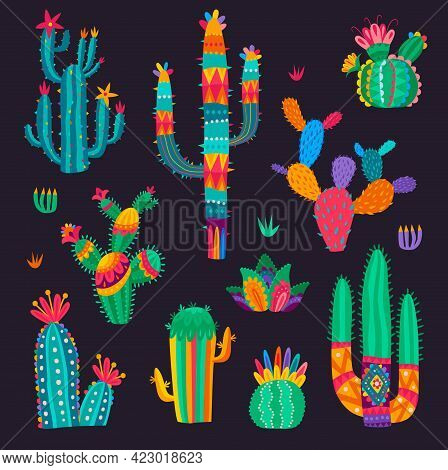 Cartoon Mexican Cactus Flowers, Desert Succulent Set. Vector Cacti In Colorful Psychedelic Style. De