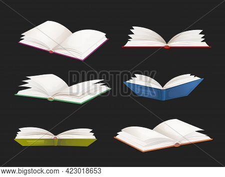 Bestseller Books, School Textbooks Vector Set. Cartoon Open Dictionaries, Literature Novels, Fairyta