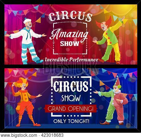 Shapito Circus Show, Cartoon Clowns, Vector Artists Or Performers On Big Top Arena. Carnival Show Gr