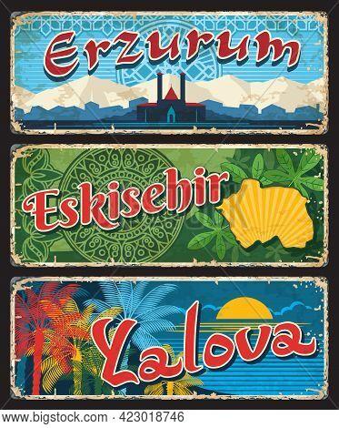 Erzurum, Eskisehir And Yalova Turkish Il, Provinces Plates, Vintage Vector Banners Of Touristic Turk