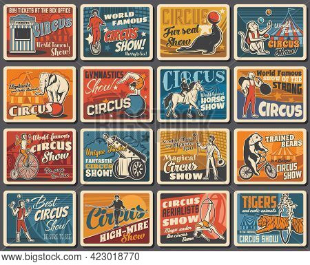Circus Show Performers And Animals Retro Banners. Animal Tamer, Clown On Bicycle And Strongman, Huma