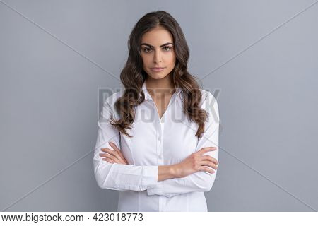 Serious Confident Business Woman Hold Arms Crossed Grey, Confidence