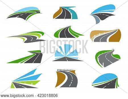 Freeway, Highway Road Icons With Roadsides And Guardrails. Winding Driveway, Winding Motorway Or Coa