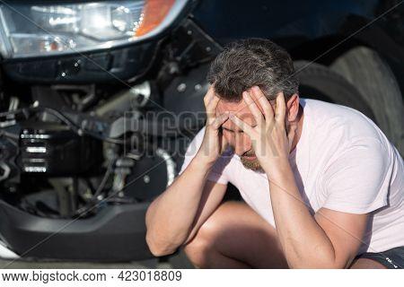 Upset Man Driver At Broken Car After Automobile Collision Car Accident, Car Crash