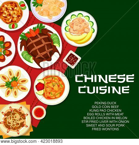 Chinese Food Menu Cover, China Asian Cuisine Restaurant Vector Poster With Dishes And Meal Plates. C