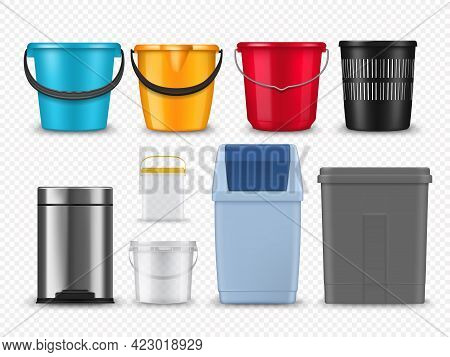 Plastic Buckets, Trash Cans And Containers Mockup. Realistic Vector Household Color Buckets Or Pail