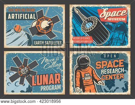Space Research Center And Museum, Artificial Satellites Tin Signs, Lunar Program Vintage Vector Plat