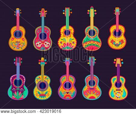 Cartoon Mexican Guitars, Vector Latin Music Instruments Of Mariachi Musicians With Bright Flower Pat