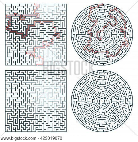 Labyrinth Maze, Logic Game Or Quiz. Find Way, Path Or Exit Searching Riddle, Kids Education Activity