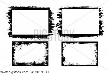 Grunge Photo Frames And Borders With Vector Edges Of Distressed Black Paint Brush Strokes. Rectangul