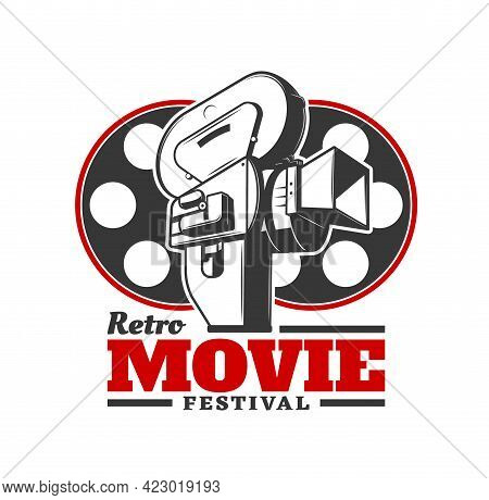 Retro Movie Festival Icon. Vector Old Camera With Cinema Film Reels. Cinematography Industry Event,