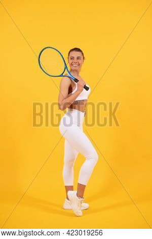 Sporty Woman Tennis Player With Fit Body In Sportswear Hold Badminton Racket, Sport.