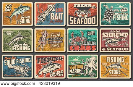 Seafood Vector Retro Posters, Fishing Catch, Fish Gourmet Restaurant, Ocean And Sea Fishery Industry
