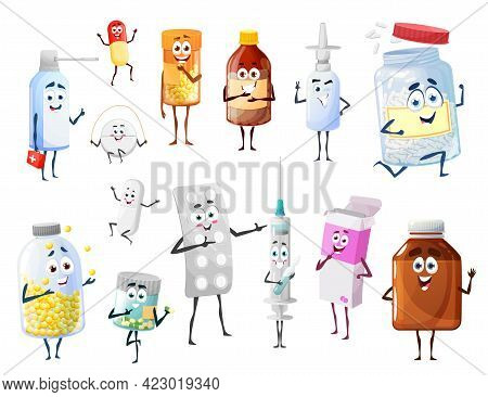 Cartoon Pills And Medicines, Drugs Funny Vector Characters. Pharmacy Antibiotic, Vitamins And Vaccin