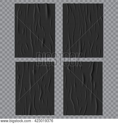 Black Glued Wet Posters, Wrinkled And Crumpled Paper Texture. Vector Creased Rectangular Sheets With