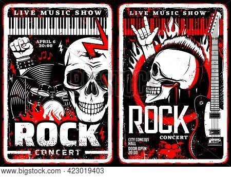 Rock Music Concert Grunge Posters Of Hard Rock Or Heavy Metal Festival. Vector Electric Guitars, Dru