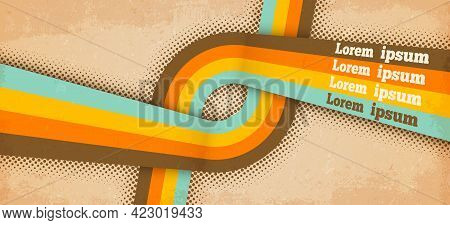 Retro Poster Template With Paper Grunge Texture, Pastel Colors Lines, Stripes Or Rainbow Rays Patter