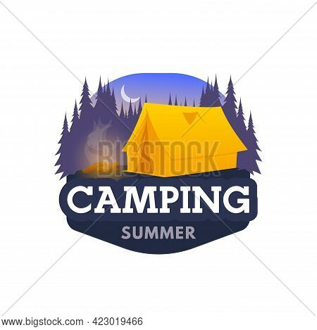 Night Camping Icon, Tent And Tourist Camp Club Vector Emblem. Summer Camping, Trekking And Hiking Tr