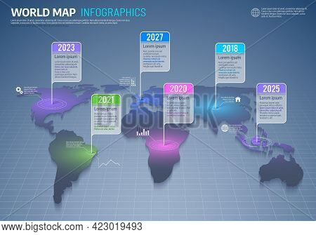 World Map Infographics, International Business And Global Data Vector Background. Earth Continents W