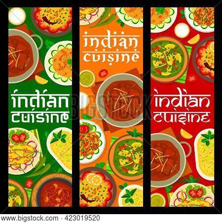 Indian Cuisine Restaurant Food Banners. Yogurt Dessert Shrikhand, Lamb Meatballs Gushtaba And Chicke