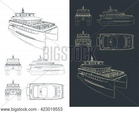Large Catamaran Isometric Blueprints