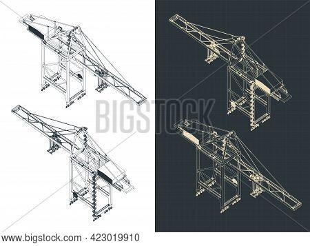 Large Harbor Crane Isometric Drawings