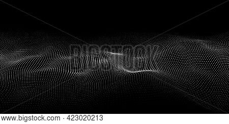 Wave 3d. Wave Of Particles. Dynamic Wave On Black Background. Futuristic Point Wave. Design For Post