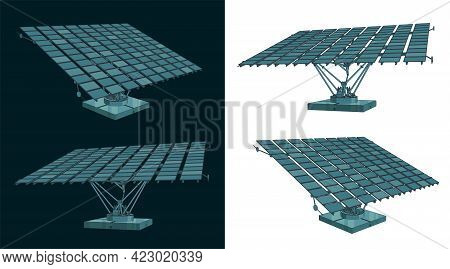 Stylized Vector Illustration Of Color Drawings Of Solar Panels With An Automatic Positioning System