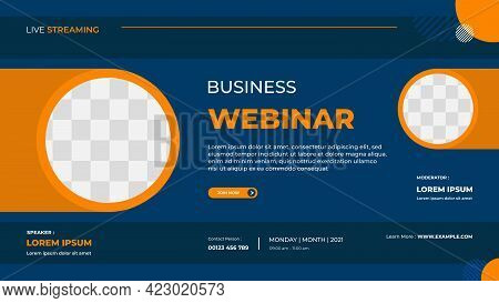 Business Webinar Banner Template For Website With Orange Circle Frame And Blue Background