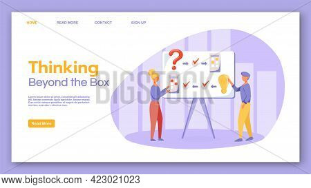 Thinking Beyond The Box Landing Page Vector Template. Brainstorming Website Interface Idea With Flat