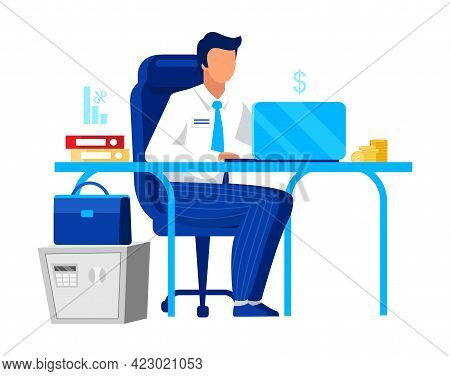 Office Worker, Clerk Flat Vector Illustration. Company Employee, Economist Isolated Cartoon Characte