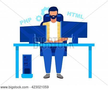 Programmer, Coder Flat Vector Illustration. Software Engineer, Professional Developer Isolated Carto