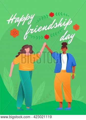 Happy Friendship Day Poster Vector Template. Multinational Friends. Brochure, Cover, Booklet Page Co