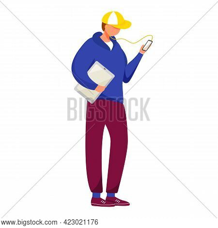 Young Man With Smartphone And Tablet Flat Vector Illustration. Adolescent Music Lover Boy Watching O